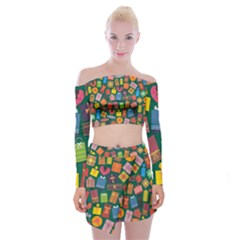 Presents Gifts Background Colorful Off Shoulder Top With Mini Skirt Set