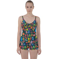 Presents Gifts Background Colorful Tie Front Two Piece Tankini