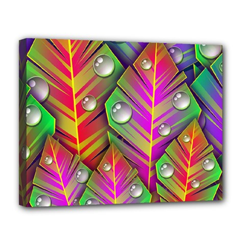 Abstract Background Colorful Leaves Canvas 14  X 11