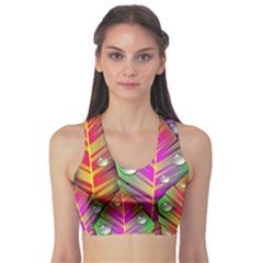 Abstract Background Colorful Leaves Sports Bra