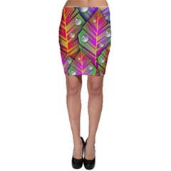 Abstract Background Colorful Leaves Bodycon Skirt