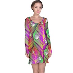 Abstract Background Colorful Leaves Long Sleeve Nightdress