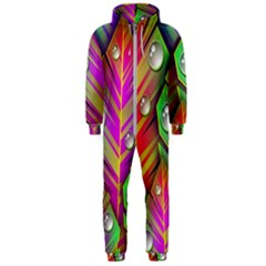 Abstract Background Colorful Leaves Hooded Jumpsuit (men)