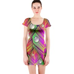 Abstract Background Colorful Leaves Short Sleeve Bodycon Dress