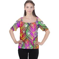 Abstract Background Colorful Leaves Cutout Shoulder Tee