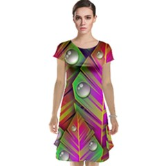 Abstract Background Colorful Leaves Cap Sleeve Nightdress