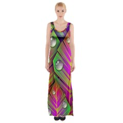 Abstract Background Colorful Leaves Maxi Thigh Split Dress