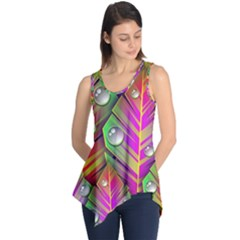Abstract Background Colorful Leaves Sleeveless Tunic