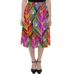 Abstract Background Colorful Leaves Folding Skater Skirt