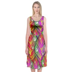 Abstract Background Colorful Leaves Midi Sleeveless Dress