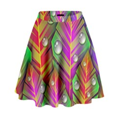 Abstract Background Colorful Leaves High Waist Skirt
