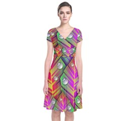 Abstract Background Colorful Leaves Short Sleeve Front Wrap Dress