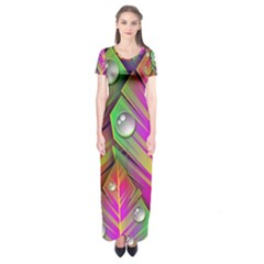 Abstract Background Colorful Leaves Short Sleeve Maxi Dress