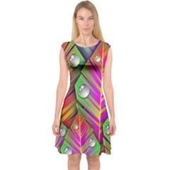 Abstract Background Colorful Leaves Capsleeve Midi Dress
