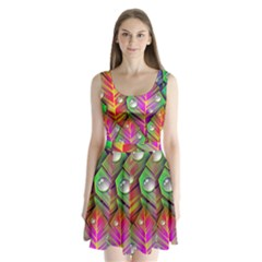 Abstract Background Colorful Leaves Split Back Mini Dress