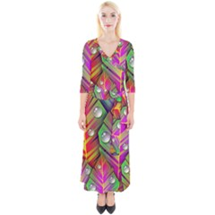 Abstract Background Colorful Leaves Quarter Sleeve Wrap Maxi Dress