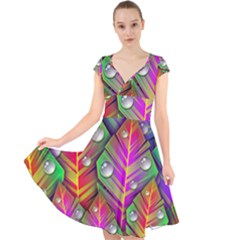 Abstract Background Colorful Leaves Cap Sleeve Front Wrap Midi Dress