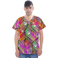 Abstract Background Colorful Leaves Men s V Neck Scrub Top