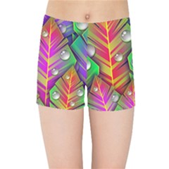Abstract Background Colorful Leaves Kids Sports Shorts