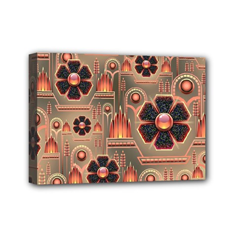 Background Floral Flower Stylised Mini Canvas 7  X 5