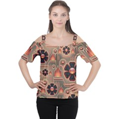 Background Floral Flower Stylised Cutout Shoulder Tee