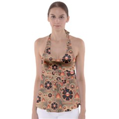 Background Floral Flower Stylised Babydoll Tankini Top