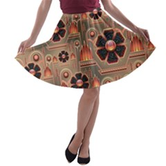 Background Floral Flower Stylised A Line Skater Skirt
