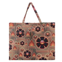 Background Floral Flower Stylised Zipper Large Tote Bag