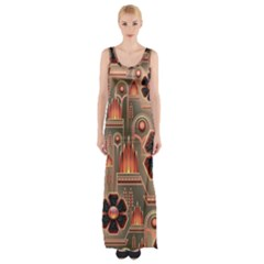 Background Floral Flower Stylised Maxi Thigh Split Dress