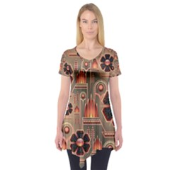 Background Floral Flower Stylised Short Sleeve Tunic
