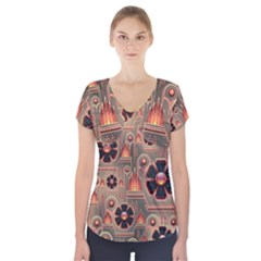 Background Floral Flower Stylised Short Sleeve Front Detail Top