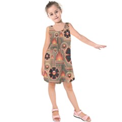 Background Floral Flower Stylised Kids  Sleeveless Dress