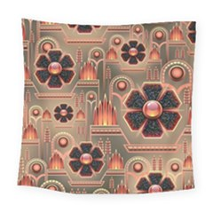 Background Floral Flower Stylised Square Tapestry (large)