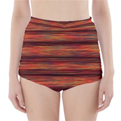 Colorful Abstract Background Strands High Waisted Bikini Bottoms