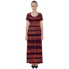 Colorful Abstract Background Strands High Waist Short Sleeve Maxi Dress