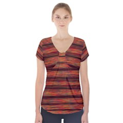 Colorful Abstract Background Strands Short Sleeve Front Detail Top