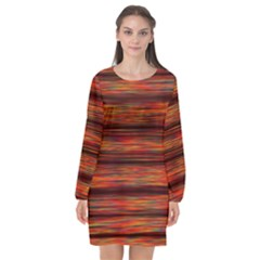 Colorful Abstract Background Strands Long Sleeve Chiffon Shift Dress