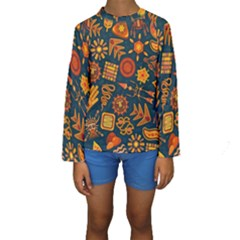 Pattern Background Ethnic Tribal Kids  Long Sleeve Swimwear