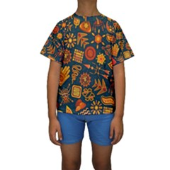 Pattern Background Ethnic Tribal Kids  Short Sleeve Swimwear