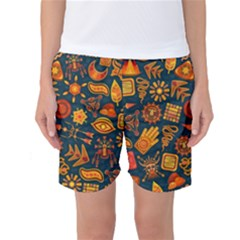 Pattern Background Ethnic Tribal Women s Basketball Shorts