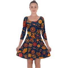 Pattern Background Ethnic Tribal Quarter Sleeve Skater Dress