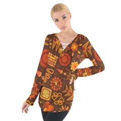 Pattern Background Ethnic Tribal Tie Up Tee