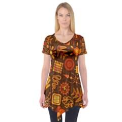 Pattern Background Ethnic Tribal Short Sleeve Tunic