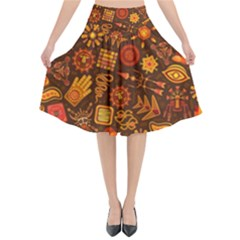 Pattern Background Ethnic Tribal Flared Midi Skirt
