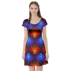 Background Colorful Abstract Short Sleeve Skater Dress