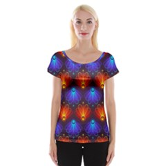 Background Colorful Abstract Cap Sleeve Tops