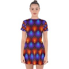 Background Colorful Abstract Drop Hem Mini Chiffon Dress