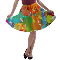 Background Colorful Abstract A Line Skater Skirt