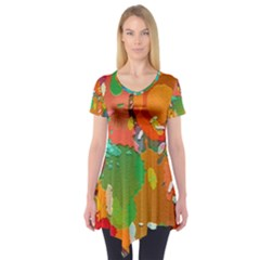 Background Colorful Abstract Short Sleeve Tunic