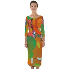 Background Colorful Abstract Quarter Sleeve Midi Bodycon Dress